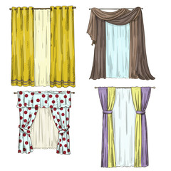 set of curtains. interior details. Cartoon style. Vector