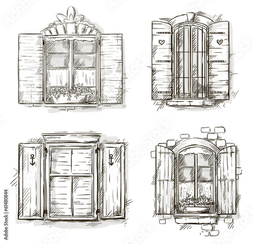 Vintage window hand drawn set of vector drawings