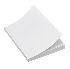 Blank book cover on white background