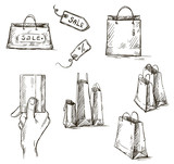 Shopping icons, sale tag, paper bags, hand with credit card
