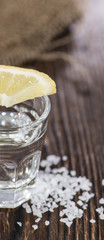 Tequila Silver with lemon and salt
