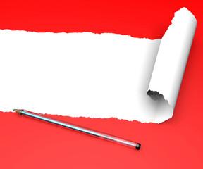 Strappo carta foglio rosso arrotolare arricciare penna biro