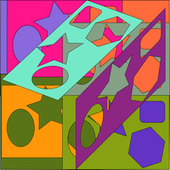 The composition of complex geometric shapes. Multicolor