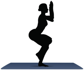 vector illustration of Yoga positions in Eagle Pose