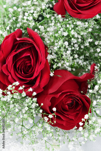 Red Roses and Babys Breath