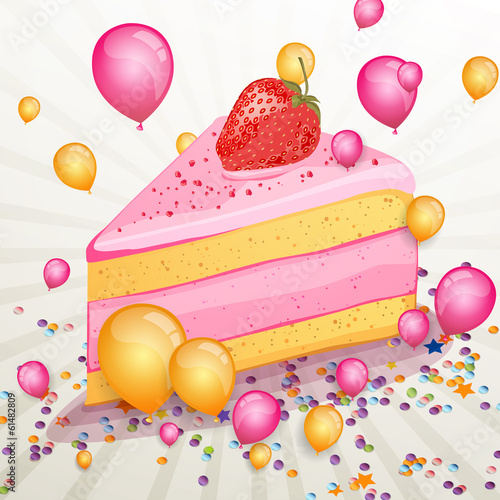 Vector Illustration of a Birthday Cake