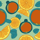 Seamless pattern with tea