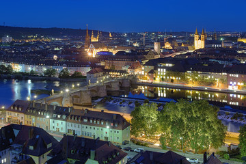 Evening view of Wurzburg, Germany