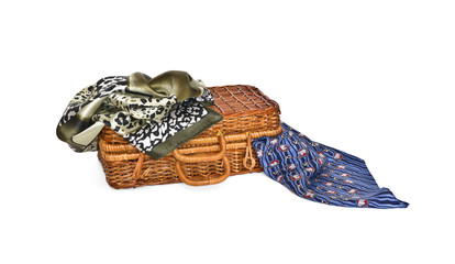 Wicker coffer and two kerchiefs