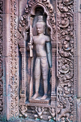 Ancient bas-relief at the Banteay Srey Temple, Cambodia