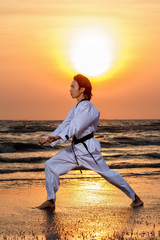 Martial arts training on beach