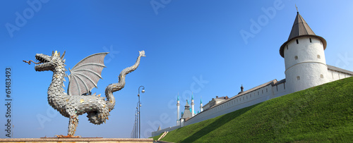 panorama with dragon and kremlin in kazan