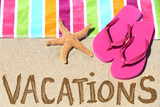 Vacation beach travel text