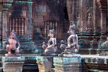 Statues at the Banteay Srey Temple, Cambodia