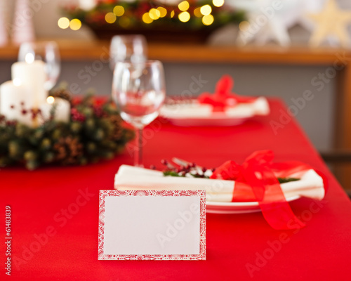 Red dinner table setup