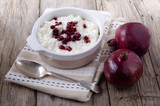 rice pudding with pomegranate seed