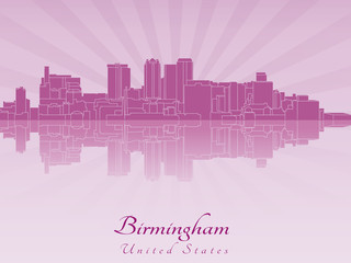 Birmingham AL skyline in purple radiant orchid