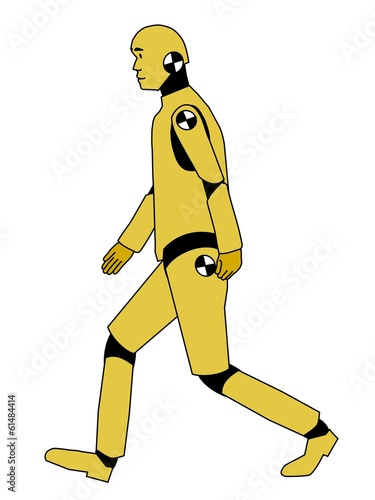 Walking crash test dummy