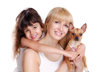 Closeup portrait of a mother, daughter and dog