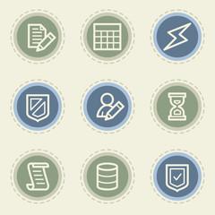 Database web icon set, vintage buttons