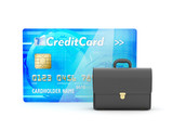 Leather briefcase and credit card on white background