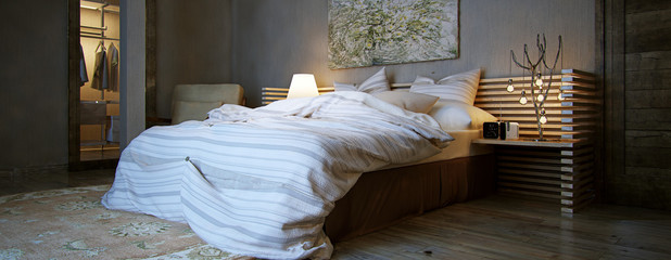 interior bedroom, rustic style