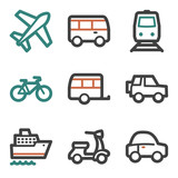 Transport web icons, contour series
