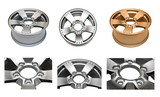 Isolated modern aluminum alloy wheels set on a white background