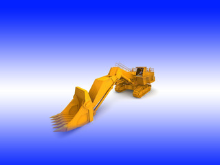 bulldozer-excavator isolated on white