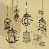 Retro style, doodle cages with birds.