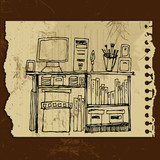 Illustrated interior elements: desktop, notebook, box, book