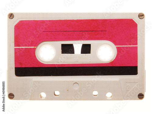 old, pink, retro music audio tape