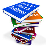 How To Start A Business Book Stack Shows Begin Company Partnersh
