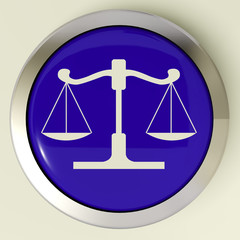 Scales Of Justice Button Means Law Trial