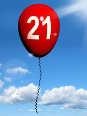 21 Balloon Shows Twenty-first Happy Birthday Celebration