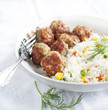 Meatballs and rice with  mixed vegetables. Selective focus