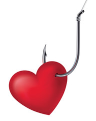 Heart on the hook. Vector illustration