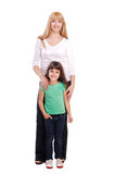Full length portrait of a family mother and daughter