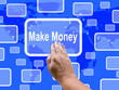 Make Money Touch Screen Shows Investment And Wealth Growth