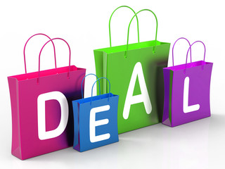 Deal On Shopping Bags Shows Bargains And Promotions