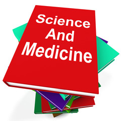 Science And Medicine Book Stack Shows Medical Research