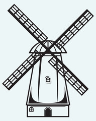 Symbol mill isolated on blue background