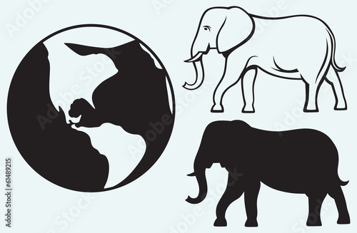 Elephant and planet isolated on blue batskground