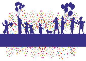Hintergrund Kinder,Shiloutte,Konfetti,Lutballon,Dackel