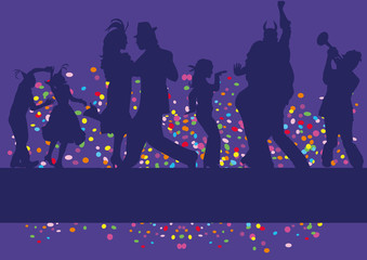 dancing people,shilouette,musician,background,confetti