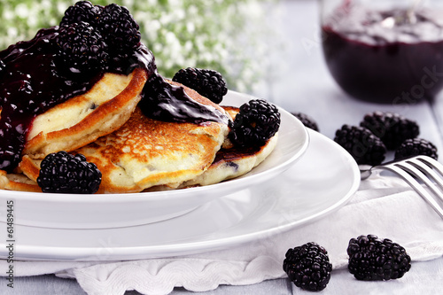 Fresh Pancakes and Blackberries