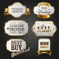 premium quality labels gold and vintage