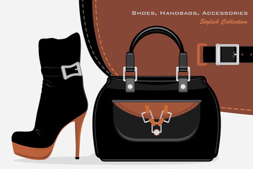 Shoes, handbags and accessories. Stylish collection