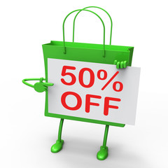 Fifty Percent Reduced On Shopping Bags Shows 50 Bargains