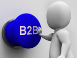 B2B Button Shows Corporate Partnership And Relations